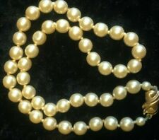 """Vintage pearl necklace, knotted betwen each pearl 15"""" long, good condition"""