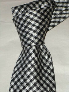 """$250 NWT TOM FORD Black & White Gingham check 3.75"""" luxury woven silk tie ITALY"""