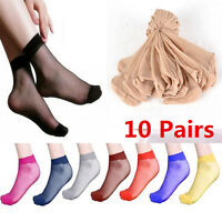 10 Pair Ultra-thin Elastic Silky Short Silk Stockings Women Ankle Socks 6 Colors
