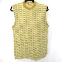 Vintage 70s Elephant Jacquard Yellow Sleeveless T Shirt Tank Top Women's Large