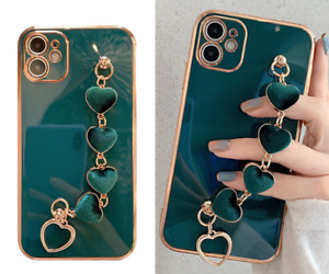 MOBILE PHONE CASE APPLE IPHONE 7/8/11/SE/X/XR/XS/MAX GREEN/GOLD HEART HAND CHAIN