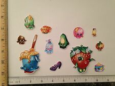 12 LgSm Shopkins Characters Fabric Applique Iron On Ons Molly Mops Strawberry