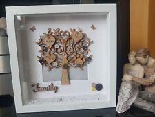 Personalised family tree box frame. Anniversary, birthday, christmas gift