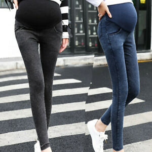 Women Maternity Pregnancy Skinny Jeans Over Pants Solid Elastic Stretch Trousers