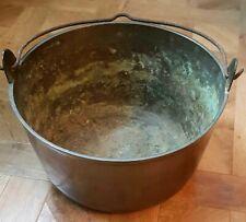 More details for antique huge solid brass, artisan jam pan pot, c1800 - fab patina