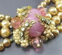 VTG Unsign MIRIAM HASKELL Faux Pearl Necklace Bracelet Set PINK GLASS RHINESTONE