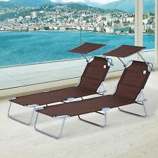 Outsunny 2PC Reclining Folding Chair Sun Lounger Recliner Seat Garden Outdoor