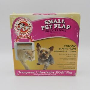 New Small Pet Flap For Cats + Dogs 6 1/4 in x 6 1/4 in Ideal Pet Products White