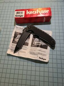 Kershaw Groove Tanto Knife 1730TBLK  RJ Martin design 3D machined Groove Blade