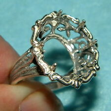 16x12 oval Filigree ring setting SIZE 6.5 Sterling Silver ring casting