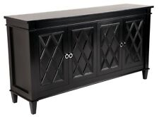 Plantation BLACK Satin 4 Door Buffet Cabinet w Diamond Pattern & Chrome Handles