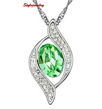 White Gold Filled Emerald Green Made with Swarovski Crystal Women Necklace N274