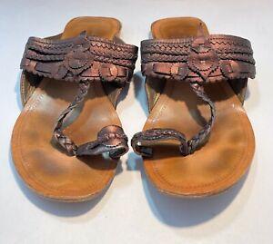 ETRO Sandals Women's EUR 38 US 8 BRONZE Leather Slides Toe Strap