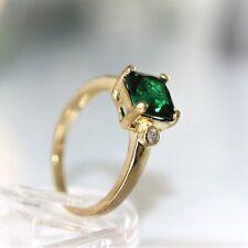 Wunderschöner DamenRing Gold 18K gest. GF (750pl) Smaragd grün Gr. 58 Ø 18,4 mm