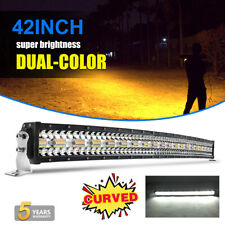 42 INCH Amber CURVED LED Light Bar Dual Color  3 Rows Spot Flood Combo UTV SUV