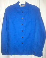 """Chico's 1 blue on blue design  linen-cotton l.s shirt & pants 2 pc .42"""" bust EC"""
