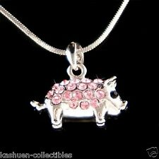 w Swarovski crystal ~Pink 3D Double sided Cute Pig Piggy Piglet Pendant Necklace