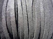 100 mètres cordon lacet cuir suède noir mat Ø 3 mm
