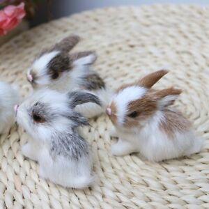 Cute Mini Realistic Plush Rabbit Fur Lifelike-Animal Easter Bunny Simulation Toy