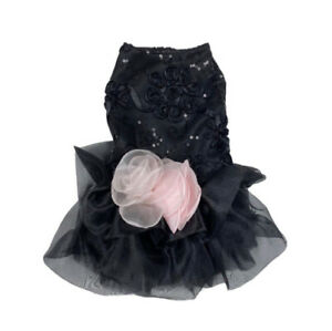 Fab Dog Black Fancy Ruffle Dog Dress Pink Flower And Sequin Detail Small