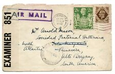 More details for gb kgvi 1942 airmail censored cover to paraguay via ascension islands ws24252