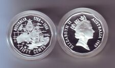 1989 Australia 50 Cent SILVER Coin First Fleet Ship ex Masterpieces in Set
