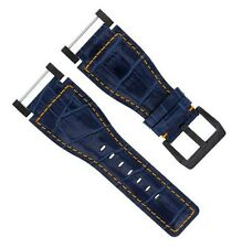 24MM SUUNTO CORE LEATHER WATCH BAND STRAP WITH ADAPTER BLUE PVD 7D