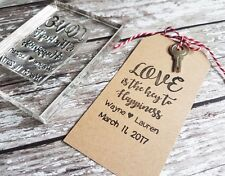 WEDDING STAMP, PERSONALISED BESPOKE INITIALS & DATE LOVE IS THE KEY TO HAPPINESS