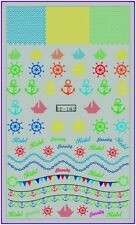 Nail Art Water Decals Transfers Stickers Marine Boats Beach Anchor Fish Lace 162