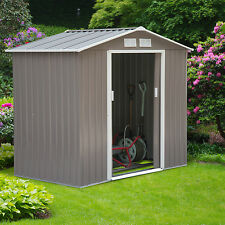 7'x4' Outdoor Garden Storage Shed All Weather Steel Tools Utility Backyard Lawn