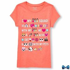 "The Childrens Place Size 7-8 ""Emoji Text"" Tee New With Tags"