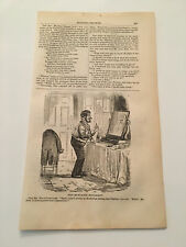 K22) Harper's Monthly Mustache Movement Party In Bed Shower Bath 1857 Engraving