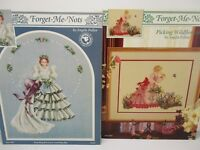Forget-Me-Nots Victorian Ladies Cross Stitch Pattern Chart Book Lot of 2 Pullen