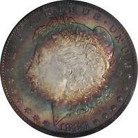 1883-P PCGS Silver Morgan Dollar MS63 Vivid Bullseye Textile Toned Obverse