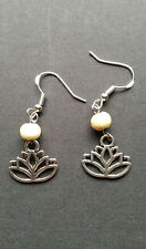 Lotus Flower, Yoga, Namaste, White Bead .925 Sterling Silver French Hook Earring