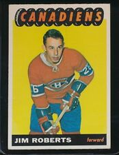 1965/66 TOPPS JIM ROBERTS  VGEX/EX  CANADIENS #74 CORNER BACK CREASE, ROOKIE,