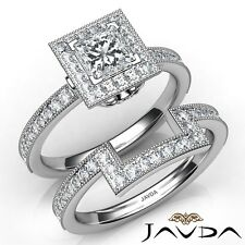 1.5ct Milgrain Edge Bridal Set Princess Diamond Engagement Ring Gia D-Vs2 W Gold