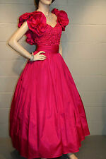 XS Fuchsia Pink  Smocked Sequin Bodice Vtg 80s Alyce Ruffle Long Prom Dress Gown