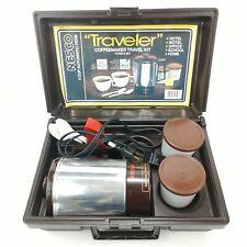 Nesco Traveler Coffeemaker Kit Vintage 1980s Portable Percolator with Case Cups