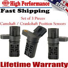 3Pcs Camshaft/Crankshaft Position Sensor For 2002-2008 Infiniti & Nissan 3.5L V6