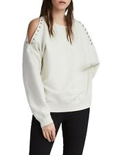All Saints Large 12 14 16 Sweatshirt Jumper Cream Eyelet Cold Shoulder RRP 88