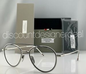 Thom Browne Eyeglasses TB-109-B-SLV-GRY Silver Gray Frame Clear Demo Lens 53mm