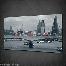 LONDON VINTAGE SKYLINE RED BUSES CANVAS PRINT WALL ART PICTURE READY TO HANG