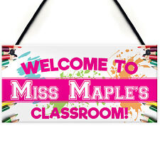 Personalised Welcome To Classroom Decoration Cute Pink Hanging Teachers Gift