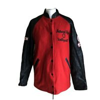 Varsity Letterman Red Black Wool Leather Sleeves Large Bathurst High Volleyball