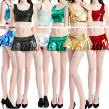 Women Shiny Leather Flare Pleated Micro Mini Skirt + Tank Top Fancy Dress Party