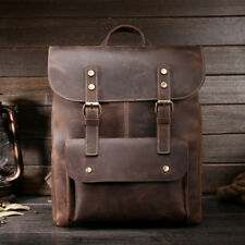 Cowhide Men Backpack Genuine Leather Daypack Travel School Laptop Bag Rucksack
