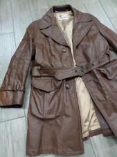 vintage LAKELAND trench coat LEATHER barnstormer jacket 42 M brown belted
