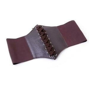 2021Womens Vintage Stretchy Faux Leather Wide Waist Brown Belt Corset Brown
