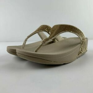 NEW Fitflop Electra Women US 8 Pale Gold Microfibre Sandal Thong Toe Post Casual